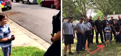 An 8-year-old kid was celebrating his birthday with no visitors. Then, men in uniform suddenly came along with a lovely surprise!