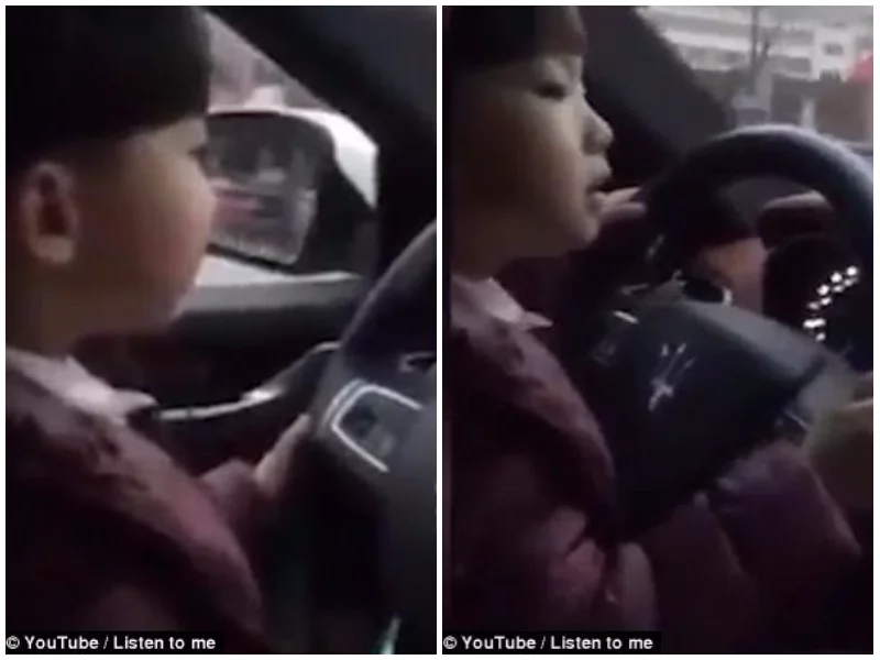 Toying with danger! Video of toddler driving Maserati on busy road while his father films sparks outrage