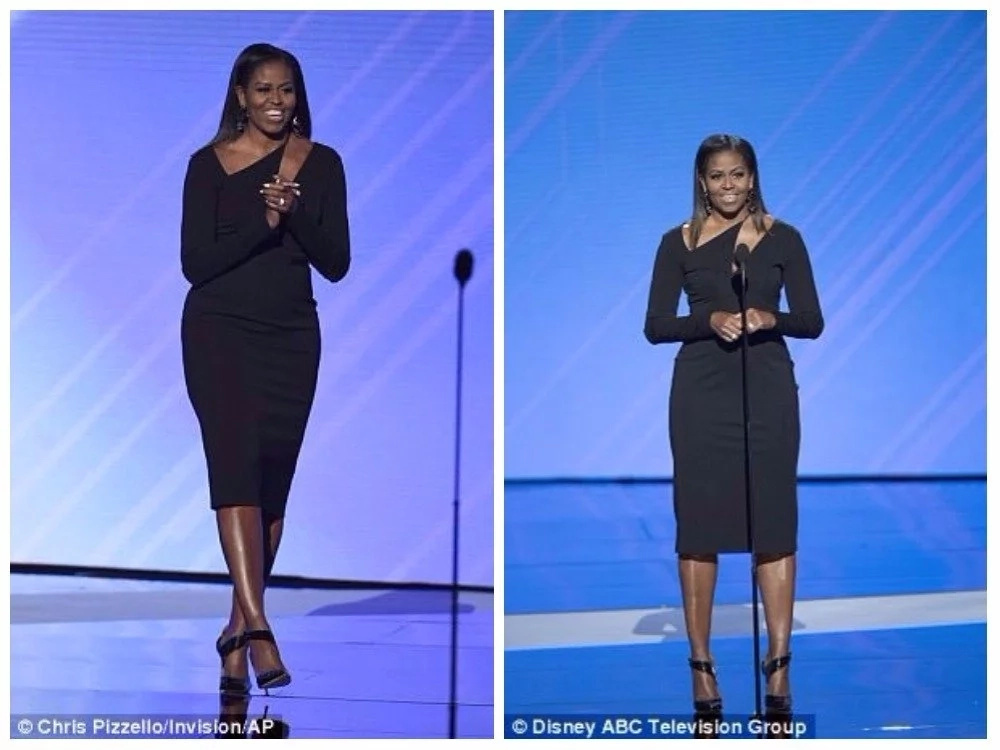 Michelle Obama looked stunning. Photos: Chris Pizzello/Invision/AP and Disney ABC Television Group