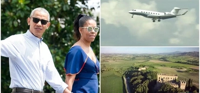Barack and Michelle Obama arrive at holiday resort on private jet escorted by 6 fighter jets (photos)