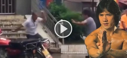 Bizarre Kung Fu fight breaks out between two Chinese men