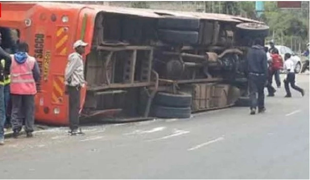 Several people trapped after bus overturns on Mombasa Road