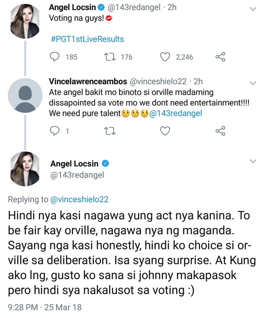 Madami daw na disappoint! Angel Locsin clarifies why she chose Orville over Johnny who did vape exhibitions in PGT