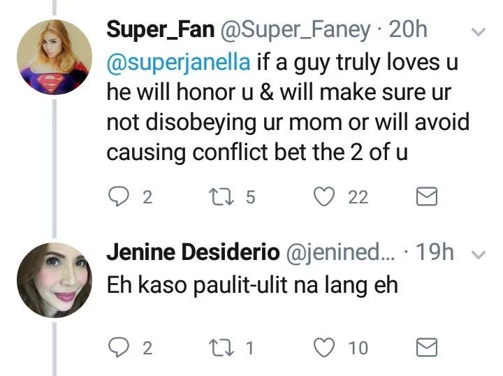 """""""Nuknukan ng tigas ng ulo."""" Jenine Desiderio to daughter Janella via Twitter"""