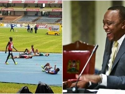 Mwanariadha Mkenya amaliza mbio kwa mtindo wa kusisimua, Kasarani (picha)