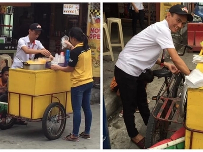 Sariling sikap lahat! A Pinoy senior high student warms the hearts of netizens by juggling his studies and selling corn at the same time!