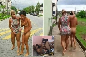 Woman frogmarches husband's lover NAKED through city after catching them in bed (photos, video)