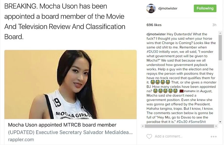 Mo-celebrities-react-Mocha-Uson-MTRCB