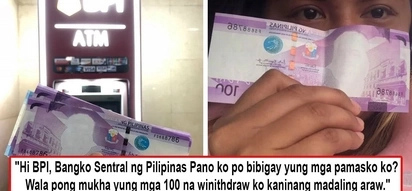Nawala hitsura ni Pres. Roxas? Netizen complains about 'faceless' P100 bills she allegedly withdrew from BPI ATM at dawn on Christmas Day