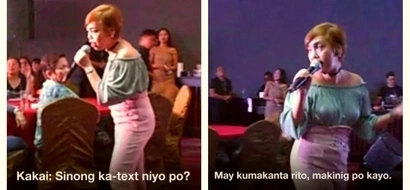 Kakai Bautista called out an audience member for not listening while she was singing a song: 'Sinong ka-text niyo po?'