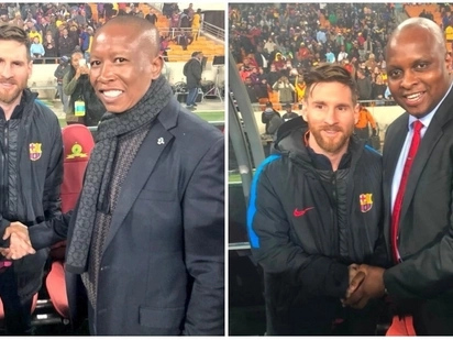 EFF leaders Malema and Shivambu meet Messi at Barcelona vs Sundowns game
