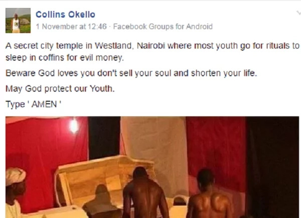 Photos alleged Nairobi Youth are sleeping in coffins for money sparks fears