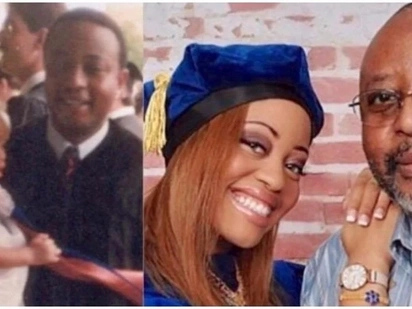 Daughter gets PhD 30 years after her dad got his - and they're pictured together on both occasions