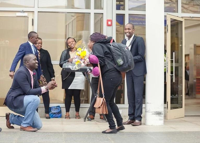 Sweet photos of man proposing to his girlfriend at JKIA
