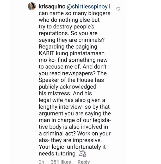 Bumwelta sa basher! Kris Aquino lashes out at a netizen for slut-shaming her
