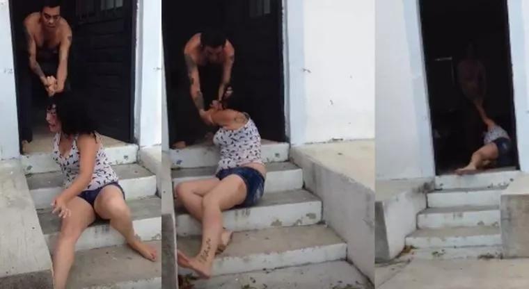 Hombre arrastró a su pareja hasta el interior de la casa