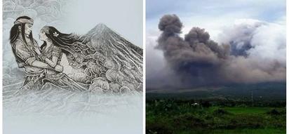 Nakaka-kilabot! Mayon Volcano's gas cloud formation that looks like silhouette of Panganoron and Magayon wows netizens