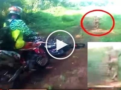 These motorcycle riders spotted a scary & mysterious creature on a forest trail! Watch the terrifying video!