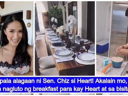 Spoiled kay hubby! Chiz Escudero cooks breakfast for Heart Evangelista and her guests