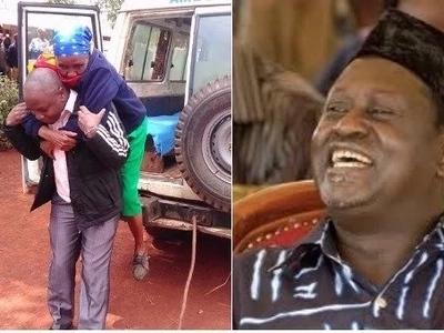 Bwana aliyewashangaza wengi Murang'a kwa kuwabeba mgongoni wapiga kura wasiojiweza tunaye hapa (Picha)