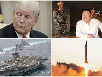 Show of force! Donald Trump's MIGHTY aircraft carriers carry out drills near North Korea (photos)