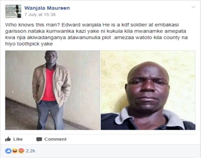 Irate Kenyan woman badly embarrasses a KDF soldier on social media, exposes his dirty secrets