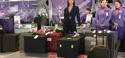 Miss Universe Thailand arrives in PH and she's already slaying with her 17 luggage