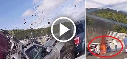 Woman pulled from burning car after terrifying 10-vehicle crash