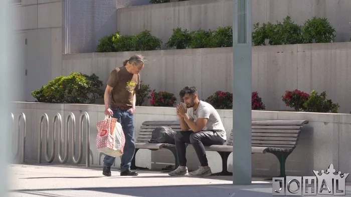 A homeless man spots someone else's money in his bag. What he does with this money, melts heart of a guy in need.