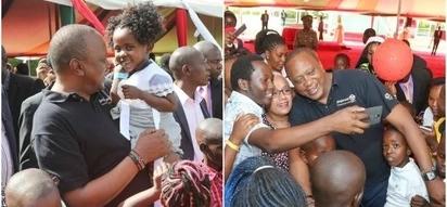 Picha hizi za Rais Uhuru na watoto ni ushahidi tosha kwamba amejifunza vyema kuwa babu wa kuvutia (picha)