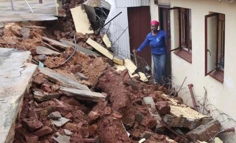 No one came to rescue me! Woman, 50, narrowly escapes death as wall collapses leaving her TRAPPED for hours (photo)