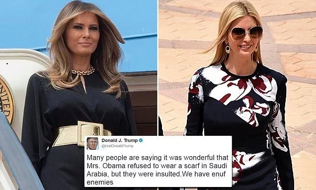 See how meet without scarves Melania & Ivanka in Saudi Arabia, after Trump criticized the same from Michelle Obama 2 years ago (photos)