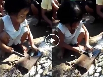 Ang sipag naman! Hardworking young girl uses dangerous sharp knife to scale fishes for money