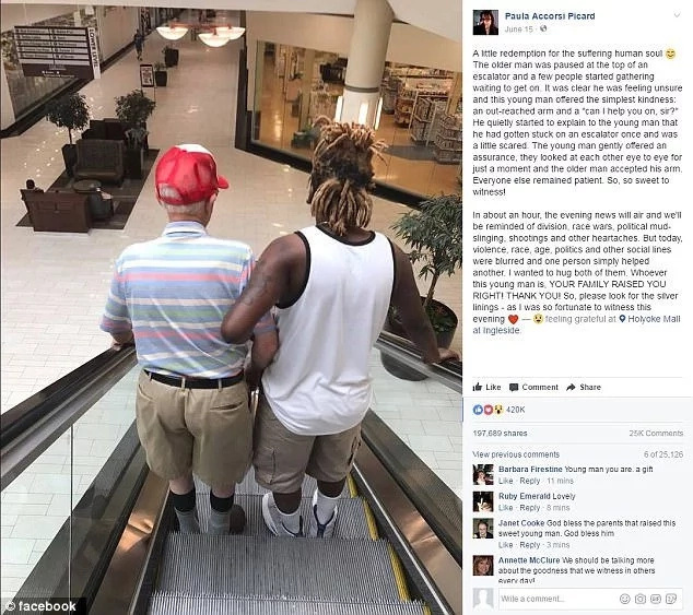 Simple act of kindness pays! Young lad who helped 83-year-old man down escalator now celebrity