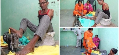 Inspirational! Man, 45, who was born without arms defies the odds to become a professional tailor
