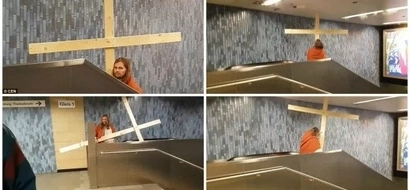 See HILARIOUS moment when man, dressed as Jesus, gets his cross stuck in ceiling (photos, video)