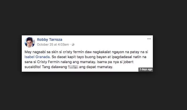 Cristy Fermin reacts on Robby Tarroza's false claims on Isabel Granada's Death Rumor