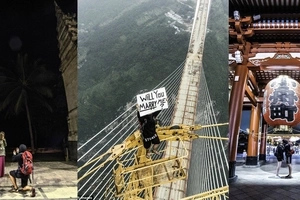 Photographer climbs highest bridge in the world to ask for girlfriend's sweetest
