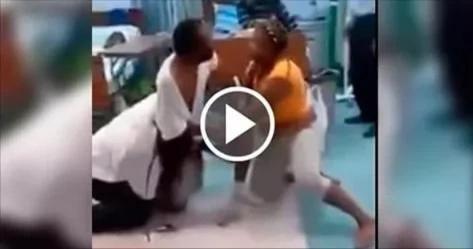 Esposa, marido y su amante pelean en hospital