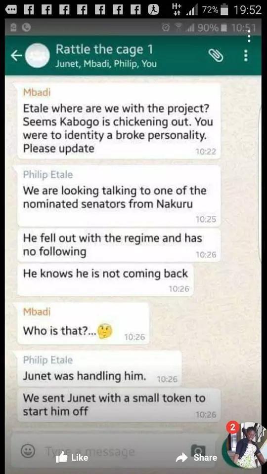 Alleged CORD Whatsapp chat plotting against Jubilee