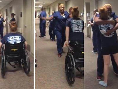 Impactante: Chica que estaba paralizada sorprendió a la enfermera al pararse y caminar