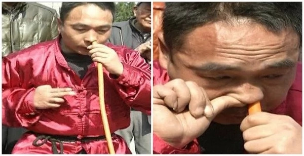 See incredible footage showing Kung Fu fan inflating car tyre using his NOSE (photos, video)
