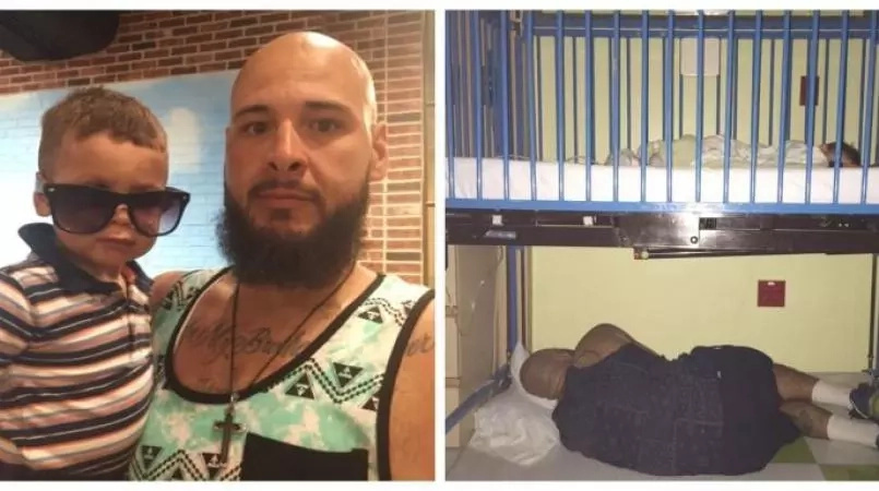 Tired but devoted dad sleeps under bed of son admitted to hospital with asthma (photos)