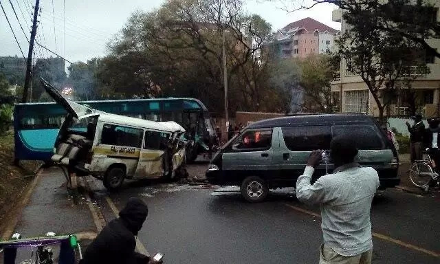 KBS bus rams into matatu near Yaya Centre
