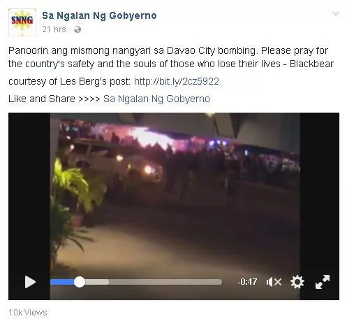 Davao bombing captured on video
