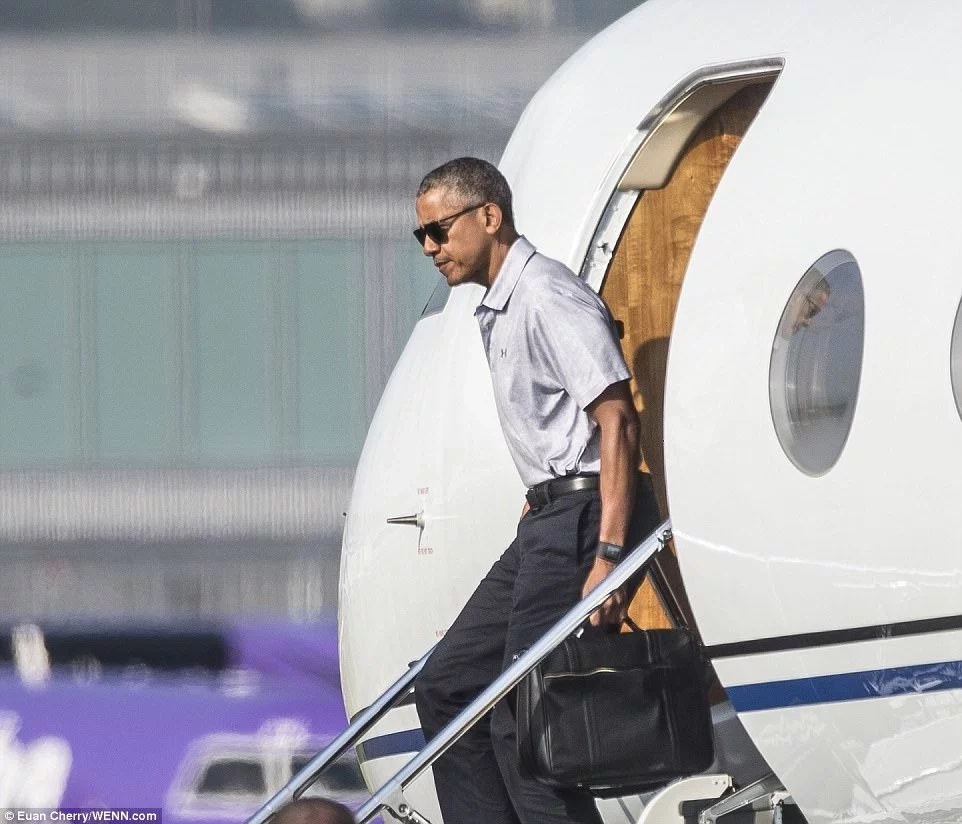 Obama flew into Scotland aboard a private jet