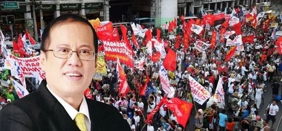 PNoy salutes workers; Labor groups stage protest