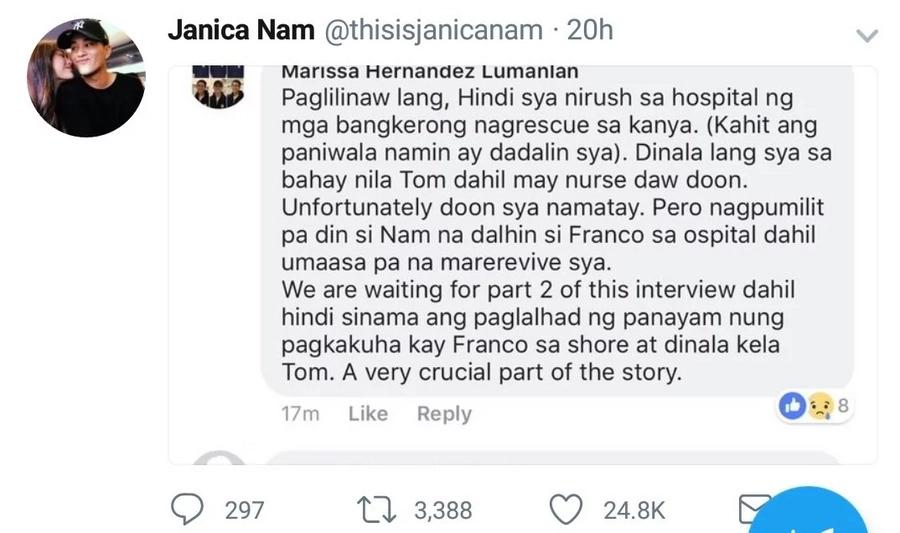 Franco Hernandez's mother breaks her silence on Janica Nam's claims against Tom Doromal & boatmen