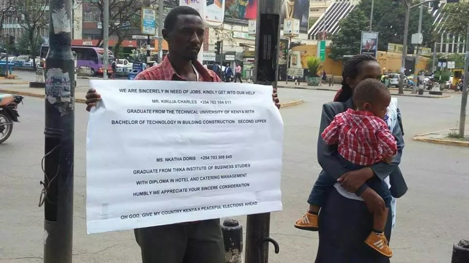 Harsh times: Kenyan Couple takes to the streets to beg for jobs