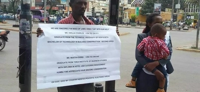 Husband and wife beg for jobs on busy Nairobi streets as joblessness bites in Kenya